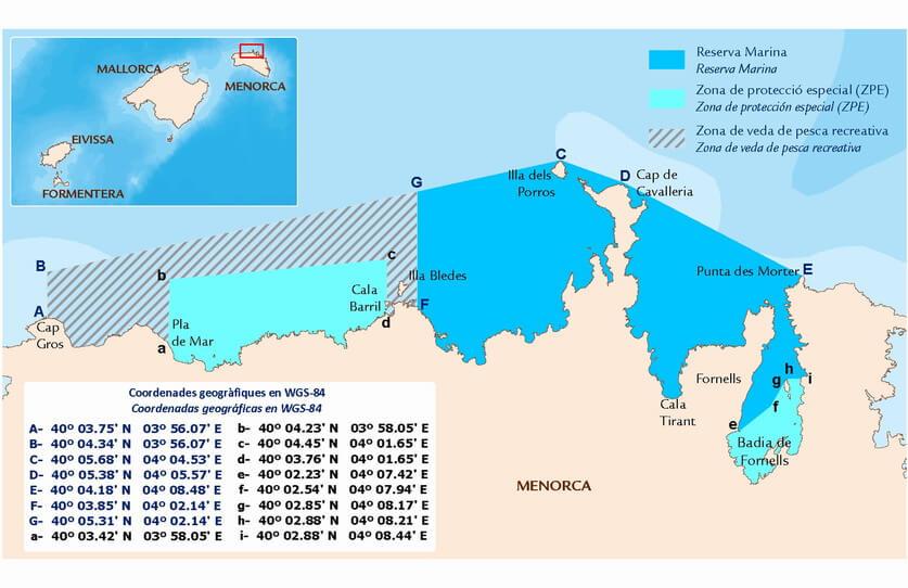 Mapa Reserva Marina Norte Menorca